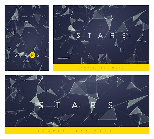 バナーまたはチラシのレイアウトのセット。円、線、三角形の抽象的なメッシュの背景。