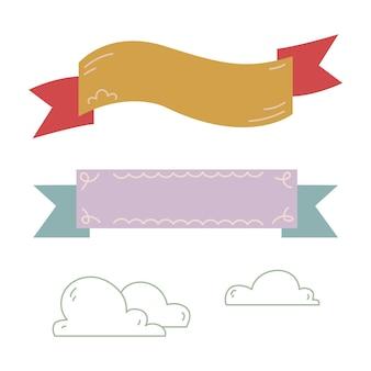 テキスト用のバナーリボンのセットです。線で雲のシルエット。白い背景のクリップアートに分離されたベクトル図