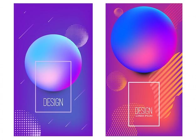 抽象的な活気に満ちたグラデーション形状のバナーテンプレートのセット。ポスター、カード、チラシ、プレゼンテーション、パンフレット、カバーの要素。画像