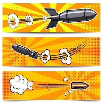 コミックスタイルの爆弾、弾丸のバナーテンプレートのセット。ポスター、カード、チラシの要素。画像