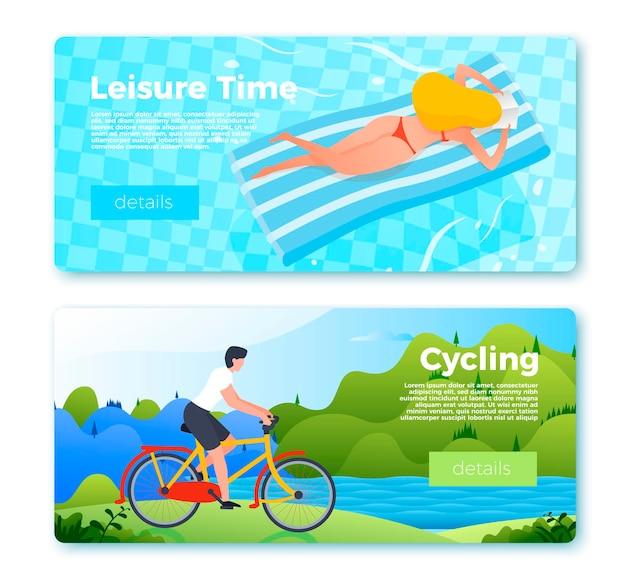 Набор шаблонов баннеров с мужчиной, катающимся на велосипеде на открытом воздухе, и девушкой, плавающей на надувном матрасе