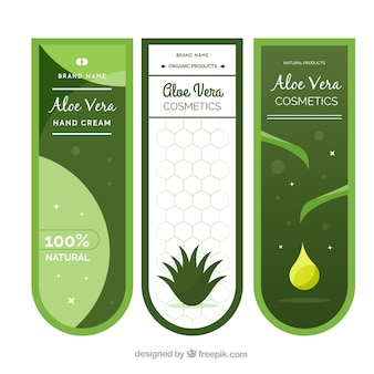Set of banners for aloe vera products