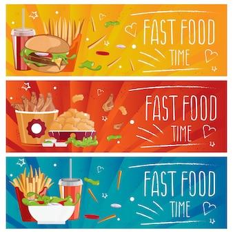 Набор баннеров для темы быстрого питания с гамбургерами, картофелем фри, колой и куриными наггетсами. иллюстрация