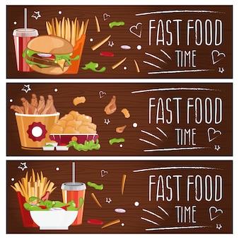 Набор баннеров на тему быстрого питания с гамбургерами, картофелем фри, колой и куриными наггетсами.