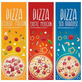 さまざまな味のフラットなデザインのテーマピザのバナーのセット