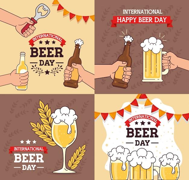 Набор баннеров, международного дня пива, август праздник с украшением