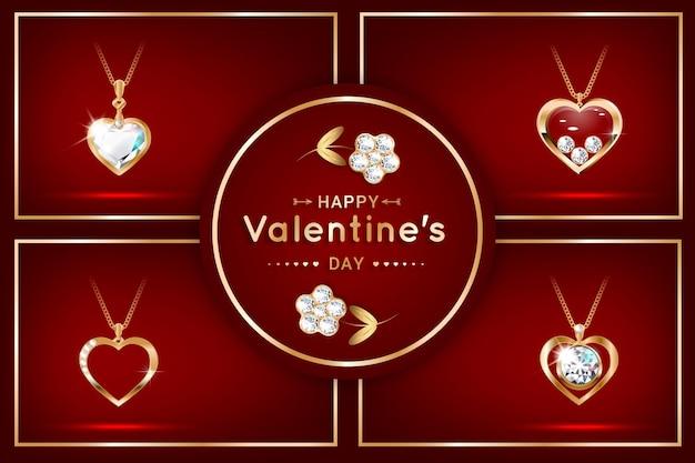 다이아몬드 하트 모양의 펜던트가 달린 배너 세트. 비싼 보석, 목걸이. 발렌타인 데이