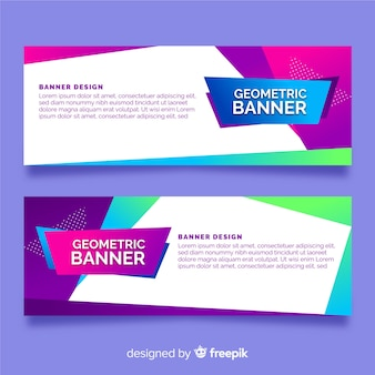 Set of banners with abstract geometric shapes