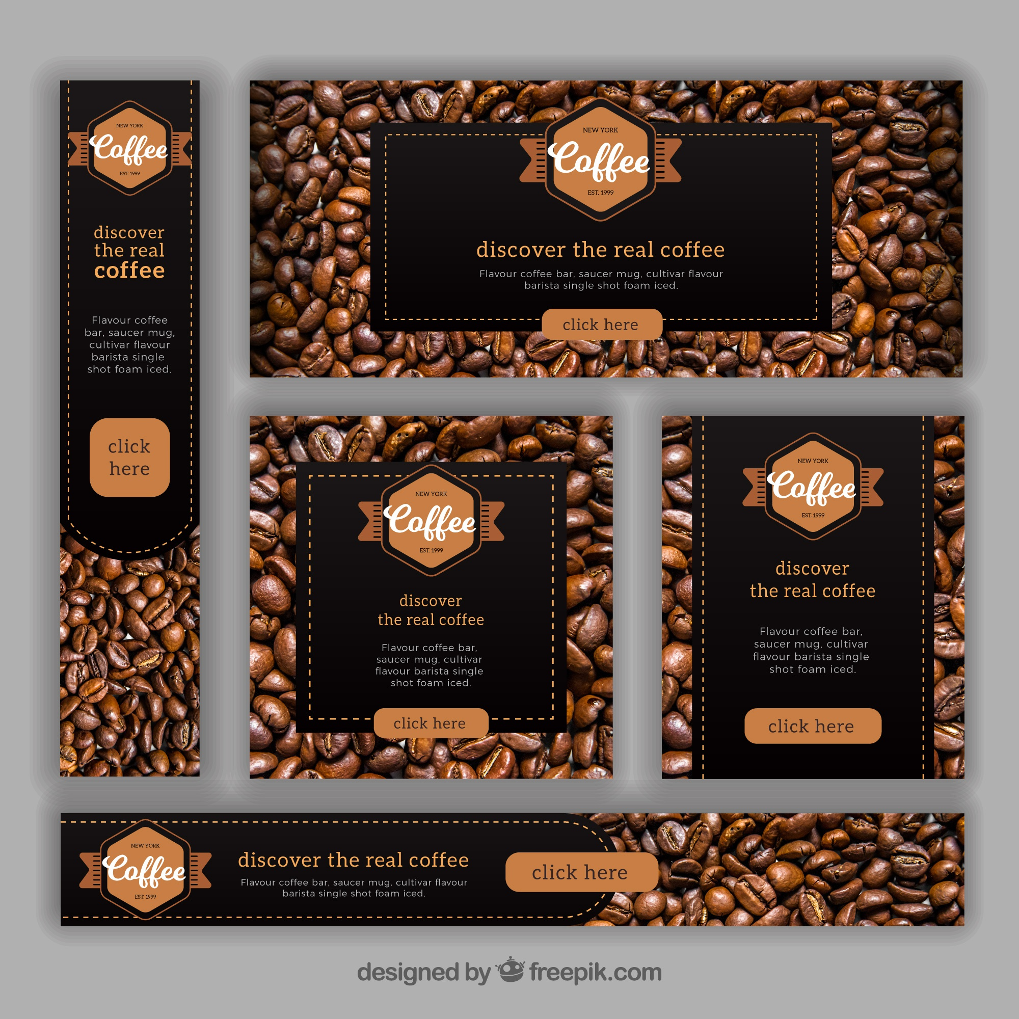 Set of banners with coffee beans