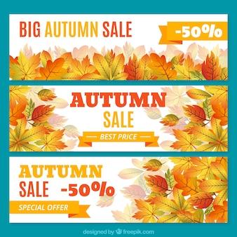 秋のための割引とバナーのセット