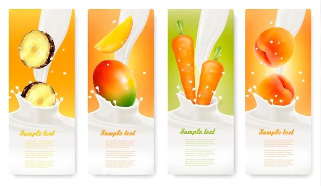 Набор баннеров с фруктами и молоком. вектор.