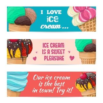 Набор баннеров с мороженым