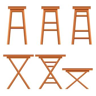 바 의자 세트. 나무 황토 컬렉션. 레트로 바 또는 카페 의자. 흰색 배경에 그림입니다.