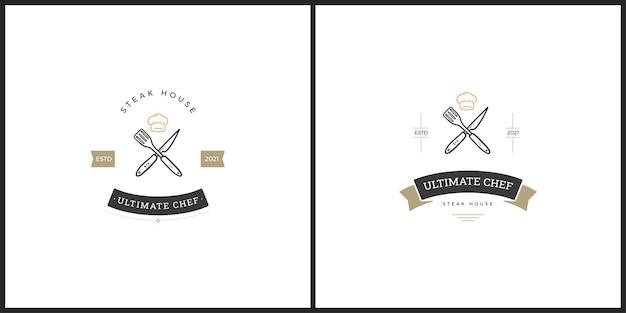 Barbaqueバッジベクトルロゴのセット