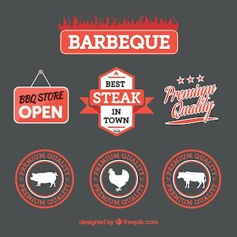 Набор логотипов для барбекю в плоском стиле