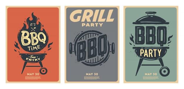 Набор плакатов для барбекю. время барбекю. барбекю вечеринка. старинный плакат.