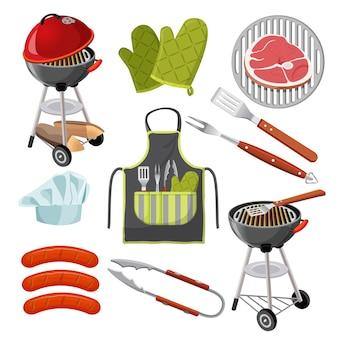 白で隔離のバーベキュー用品と食品のセットです。ポータブルグリル、緑のミトン、グリッド上の新鮮な肉、3つのソーセージ、シャベル、フォークとクランプ、ツールとシェフの帽子が付いたエプロンのイラスト。
