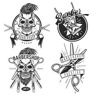 理髪機器のエンブレム、ラベル、バッジ、ロゴのセットです。
