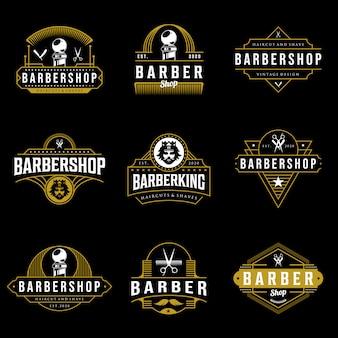 理髪店のロゴデザインのセット。暗い背景のビンテージレタリングイラスト。