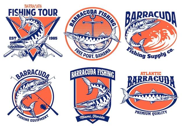 Набор дизайна значка рыбалки барракуды