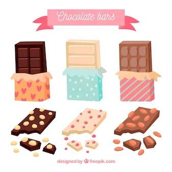 さまざまなチョコレートとバーとピースのセット