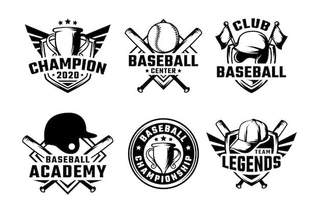 野球バッジのラベル、エンブレム、ロゴのセット