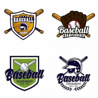 野球のロゴのバッジのセット