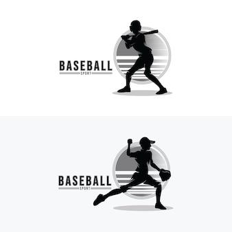 野球スポーツロゴデザインのセット