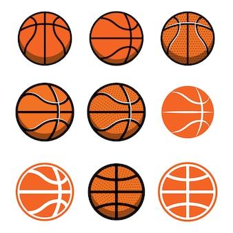 흰색 바탕에 농구 공의 집합입니다. 포스터, 로고, 라벨, 엠블럼, 사인, 티셔츠 요소. 삽화