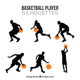 Набор силуэтов баскетболистов