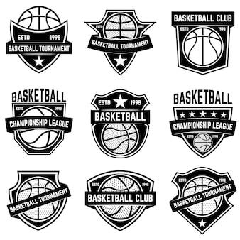 バスケットボールスポーツのエンブレムのセットです。ポスター、ロゴ、ラベル、エンブレム、看板、tシャツの要素。図