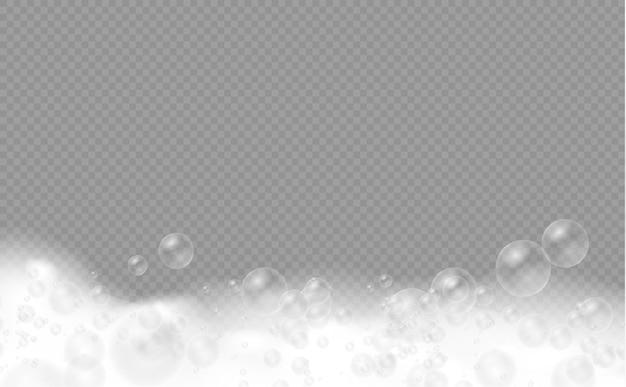 샴푸 거품 비누 젤 또는 샴푸 거품 오버레이 거품 질감이 있는 목욕 거품 세트