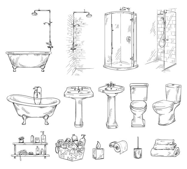 バスルームオブジェクトのセットバスタブショバーシンクと便器バスルームアクセサリーベクトルスケッチ