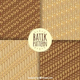 Set of batik patterns in brown tones