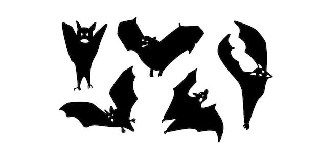 박쥐의 집합입니다. 벡터 일러스트 레이 션