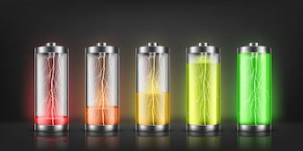 Set of battery charge indicators with lightning flashes, with low and high energy levels