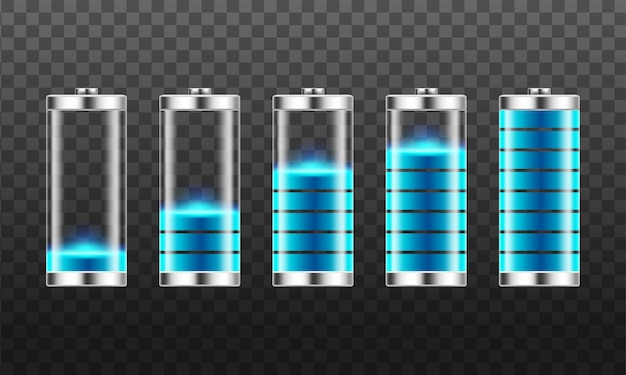 低エネルギーレベルと高エネルギーレベルのバッテリー充電インジケーターのセット