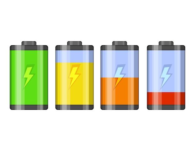 배터리 잔량 표시 아이콘의 집합입니다. 번개와 광택 투명 배터리.