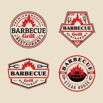 Набор шаблонов логотипа эмблема значок барбекю