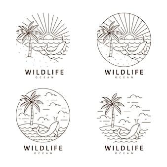 해변과 고래 그림 monoline 또는 라인 아트 스타일 벡터 디자인 세트