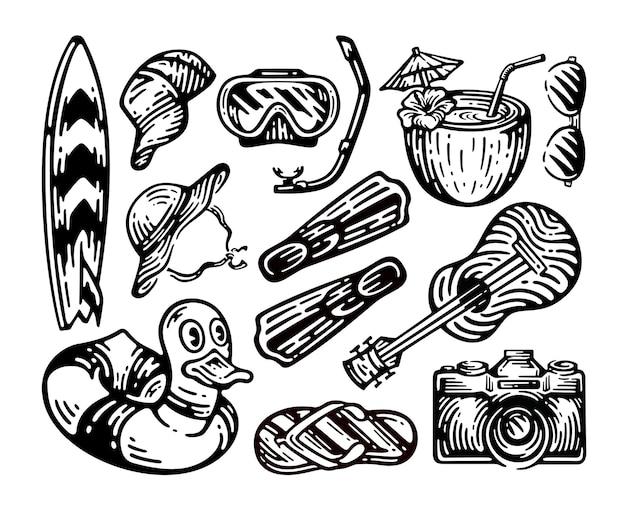 Набор элементов пляжного оборудования в винтажном стиле каракули