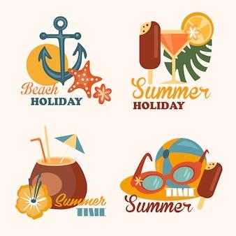 ビーチの休日とフラットスタイルの夏要素イラストのセット