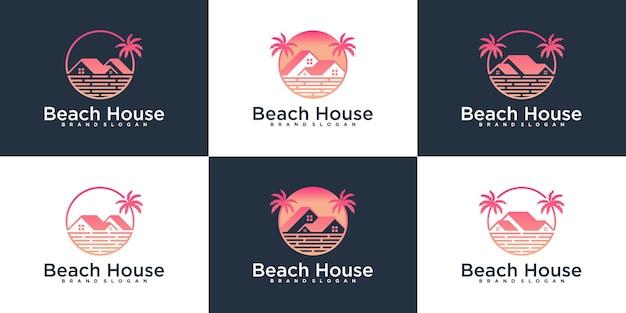 독특한 팜 로고 디자인이 있는 비치 하우스 로고 디자인 컬렉션 세트 premium vecto
