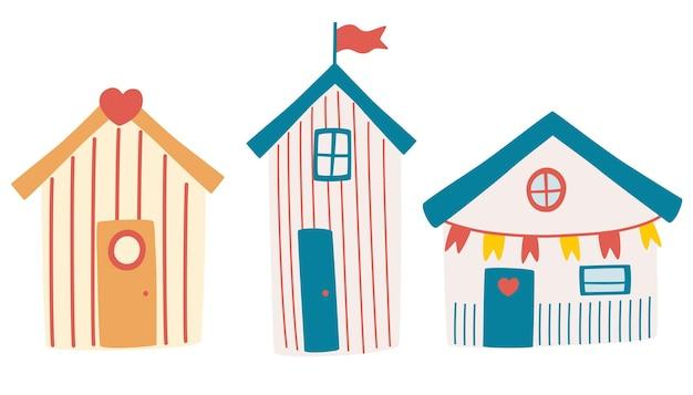 ビーチハウスのセット。ビーチ小屋付きのサマーカード。外観の異なるビーチバンガローホテル。海でのビーチホリデーの属性。装飾、カード、チラシに。漫画のベクトル図です。