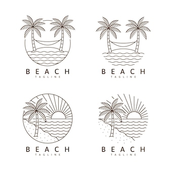 해변 그림 monoline 또는 라인 아트 스타일 벡터 디자인 서식 파일의 집합