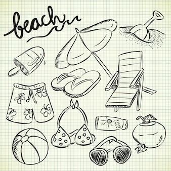 Набор пляжных вещей в стиле каракули