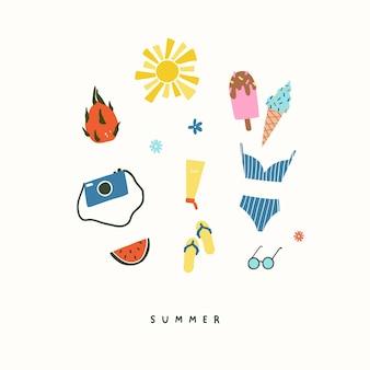 Набор пляжных предметов летнего отдыха, купальник, фотоаппарат, сланцы, солнце, арбуз. летние иконки векторные иллюстрации в стиле плоской рисованной каракули