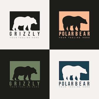 クマのシルエットのロゴのベクトルイラストデザインテンプレートのセットです。グリズリーアイコン