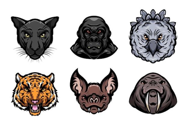 짐승 동물 머리 그림의 세트