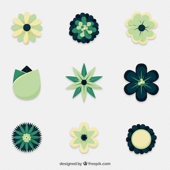 아름 다운 추상 장식 꽃 세트